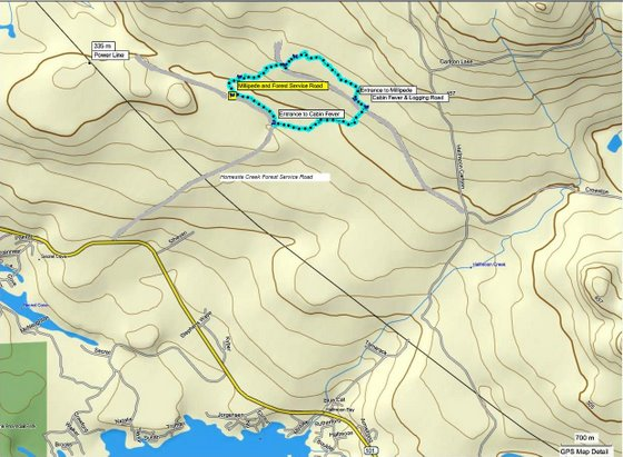 Cabin Fever Millipede trail route via Mapsource
