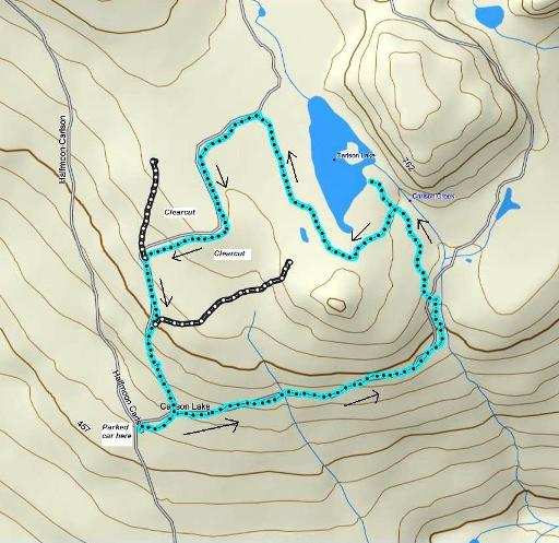 Carlson Lake route created in Mapsource.