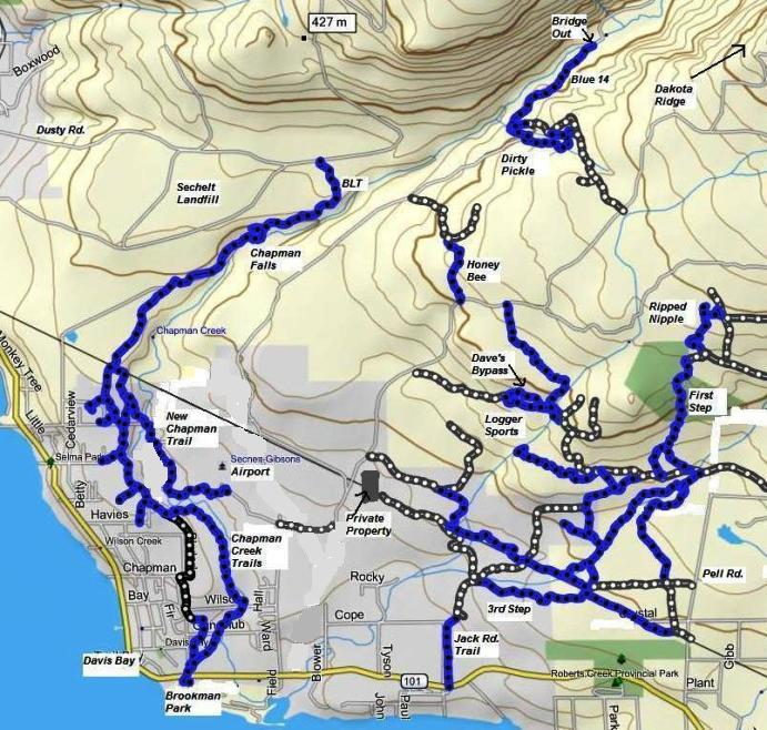 Map of Chapman Creek & Wilson Creek Trails