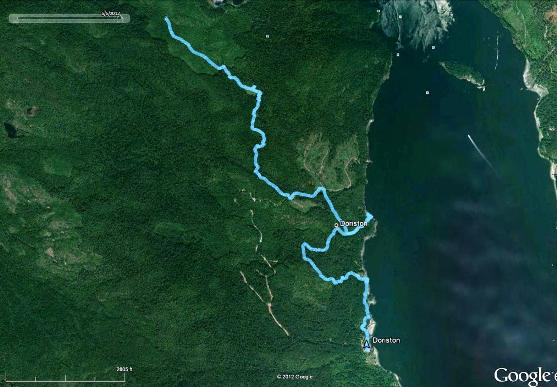 Photo of what the route looks like in Google Earth
