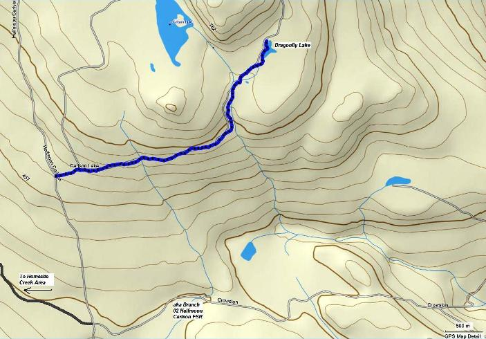 Map of Dragonfly Lake route