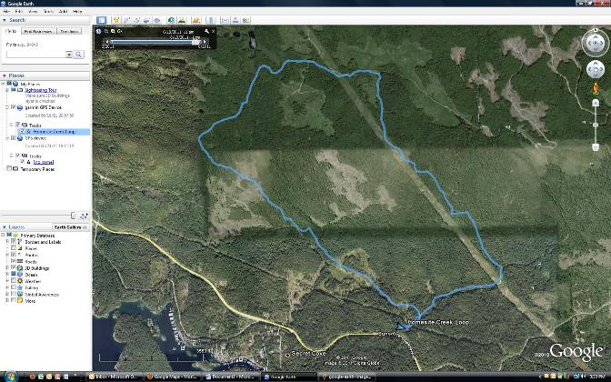 View of Google Earth route.