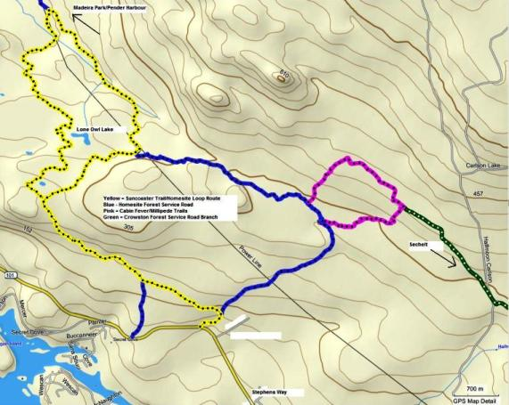 Homesite Suncoaster Trail route map.