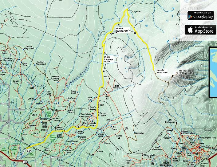 Click to open pdf of Mt. Elphinstone Alternate Route map