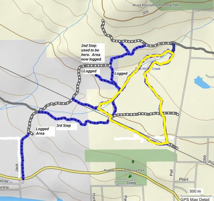 Pell Road hiking and biking route map.