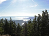View looking down at Pender Harbour from the top of Mount Hallowell