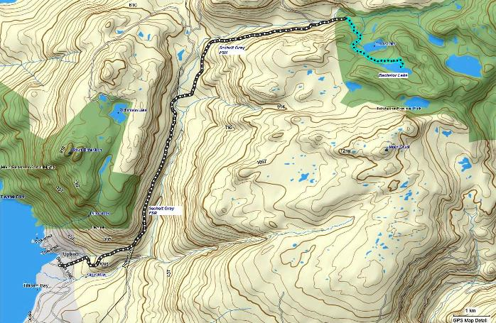 Map of Bachelor Lake route