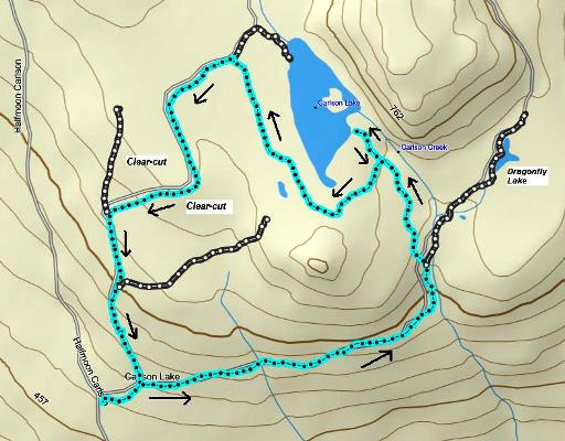 Carlson Lake route pictured in Mapsource