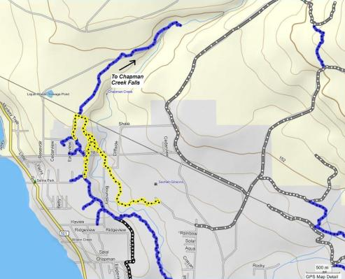 New trail to Chapman Creek bridge