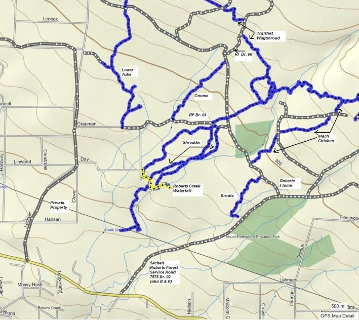 Roberts Creek Waterfall route