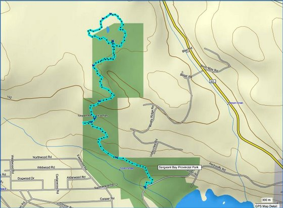 Triangle Lake route map via Mapsource